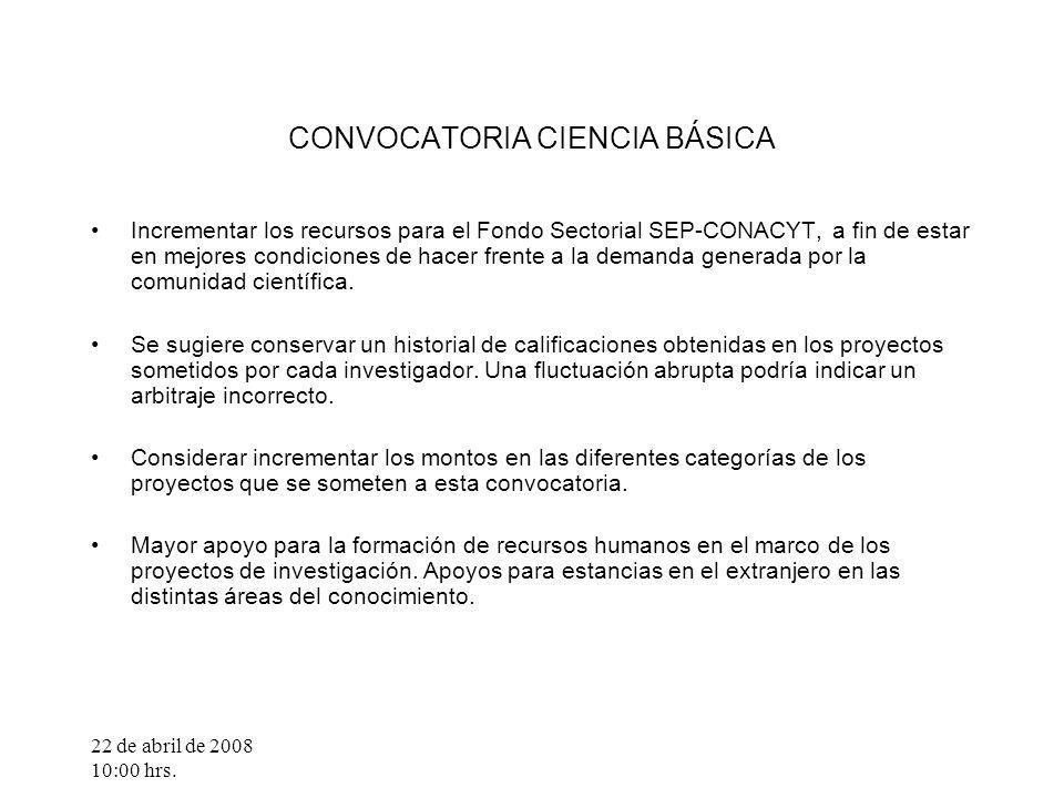 22 de abril de 2008 10:00 hrs. CONVOCATORIA CIENCIA BÁSICA Incrementar los recursos para el Fondo Sectorial SEP-CONACYT, a fin de estar en mejores con