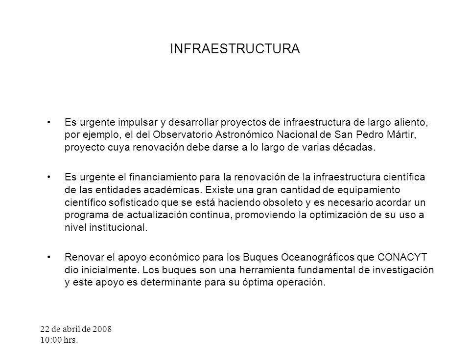 22 de abril de 2008 10:00 hrs. INFRAESTRUCTURA Es urgente impulsar y desarrollar proyectos de infraestructura de largo aliento, por ejemplo, el del Ob