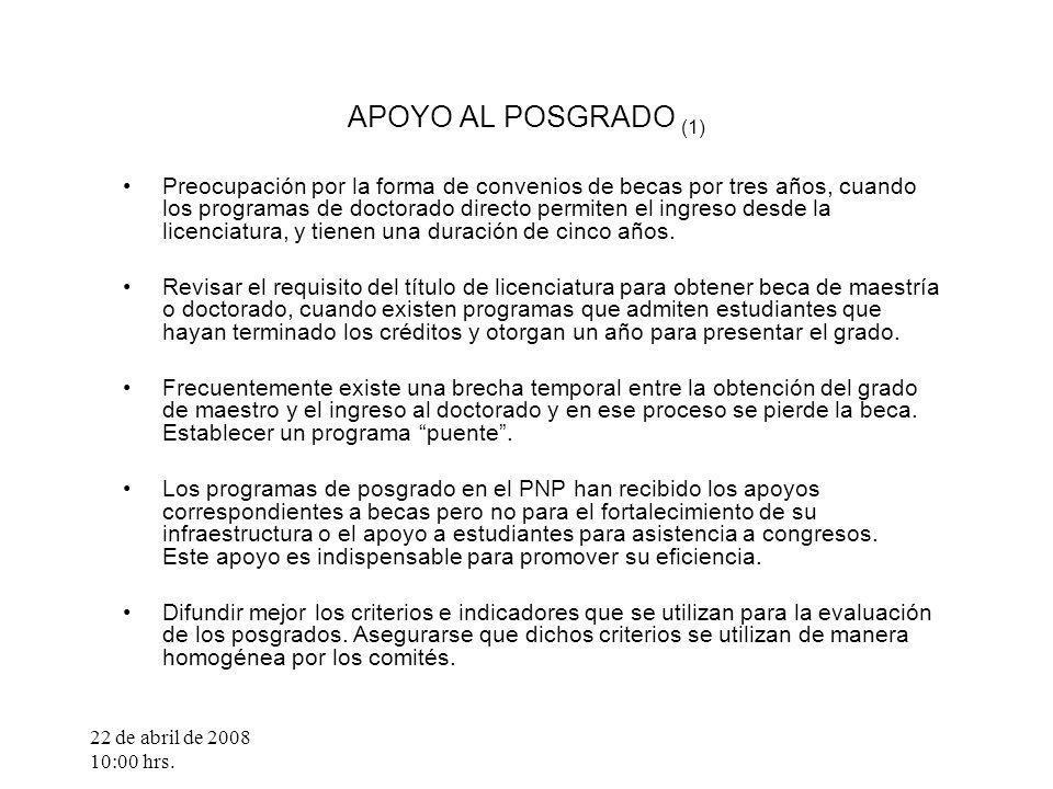 22 de abril de 2008 10:00 hrs. APOYO AL POSGRADO (1) Preocupación por la forma de convenios de becas por tres años, cuando los programas de doctorado