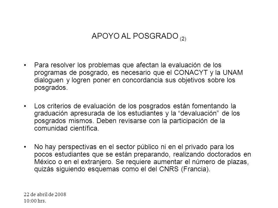 22 de abril de 2008 10:00 hrs. APOYO AL POSGRADO (2) Para resolver los problemas que afectan la evaluación de los programas de posgrado, es necesario