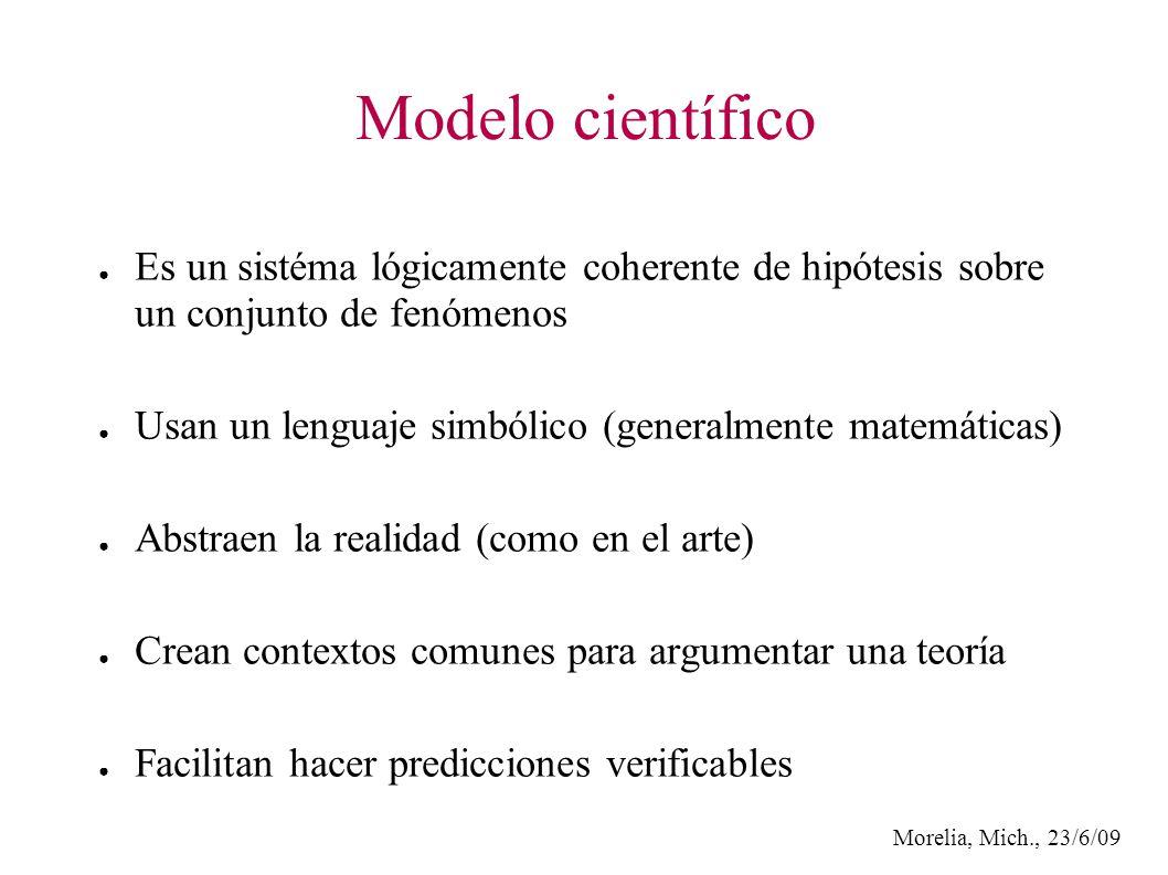 Morelia, Mich., 23/6/09 Modelo científico Es un sistéma lógicamente coherente de hipótesis sobre un conjunto de fenómenos Usan un lenguaje simbólico (generalmente matemáticas) Abstraen la realidad (como en el arte) Crean contextos comunes para argumentar una teoría Facilitan hacer predicciones verificables