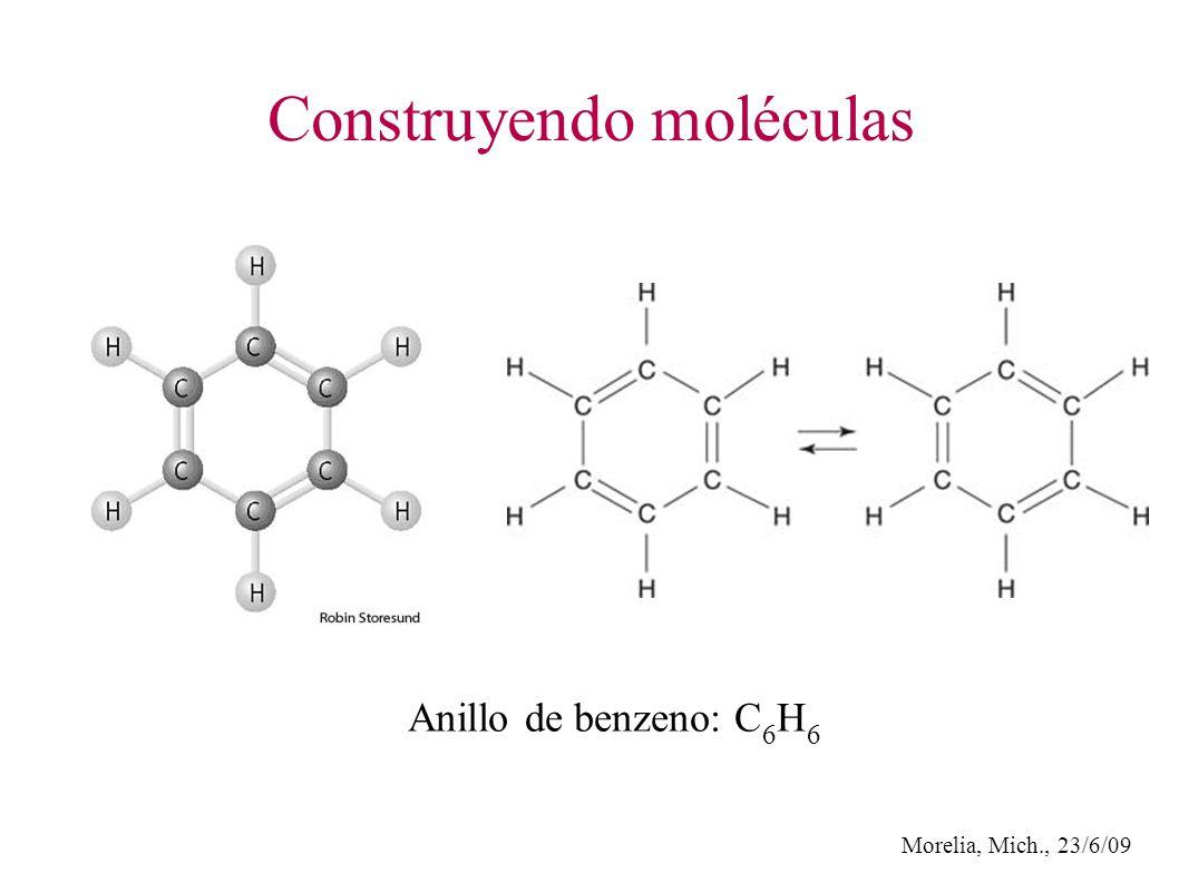 Morelia, Mich., 23/6/09 Construyendo moléculas Anillo de benzeno: C 6 H 6