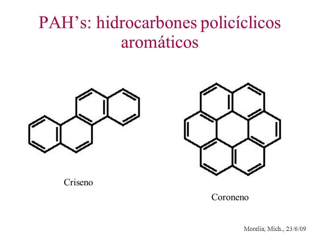 Morelia, Mich., 23/6/09 PAHs: hidrocarbones policíclicos aromáticos Criseno Coroneno