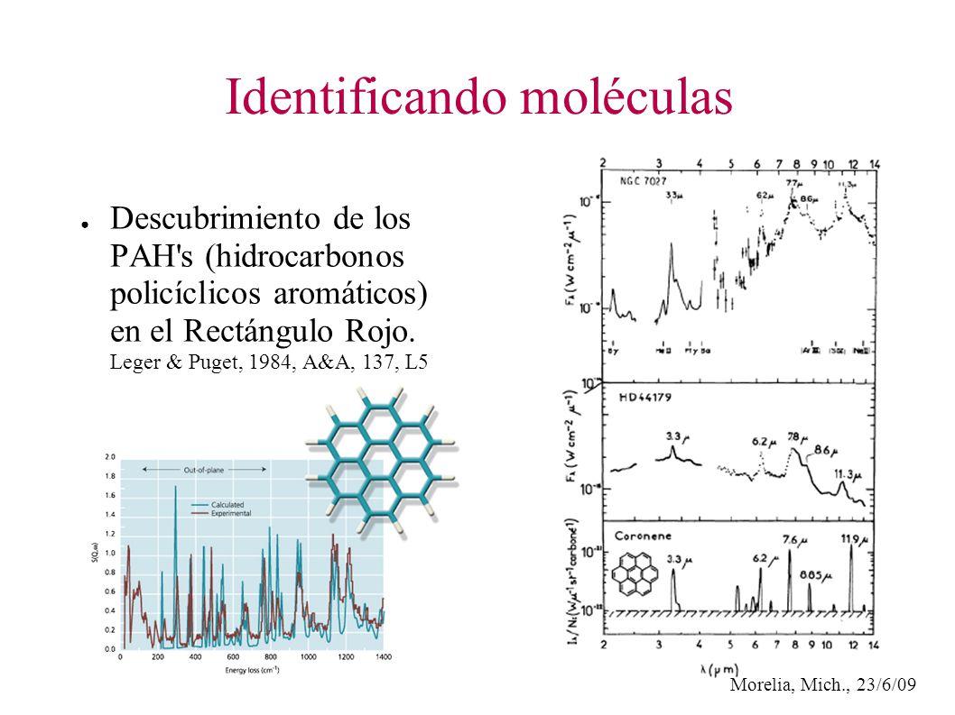 Morelia, Mich., 23/6/09 Identificando moléculas Descubrimiento de los PAH s (hidrocarbonos policíclicos aromáticos) en el Rectángulo Rojo.