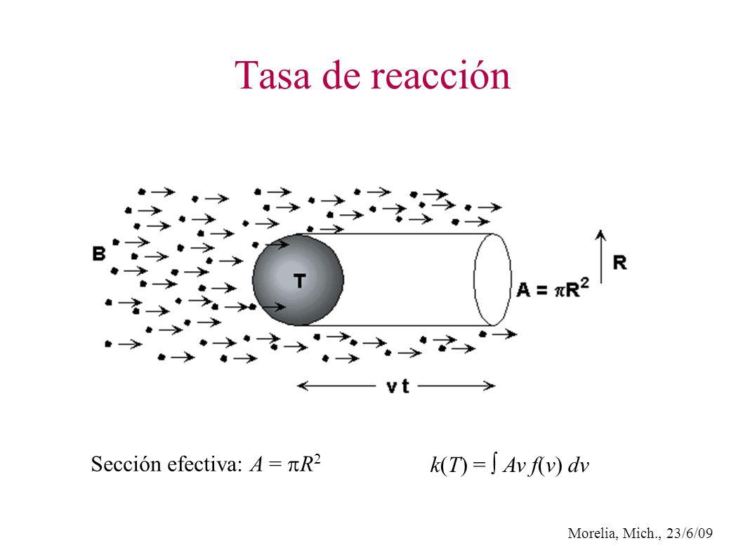 Morelia, Mich., 23/6/09 Tasa de reacción k(T) = Av f(v) dv Sección efectiva: A = R 2