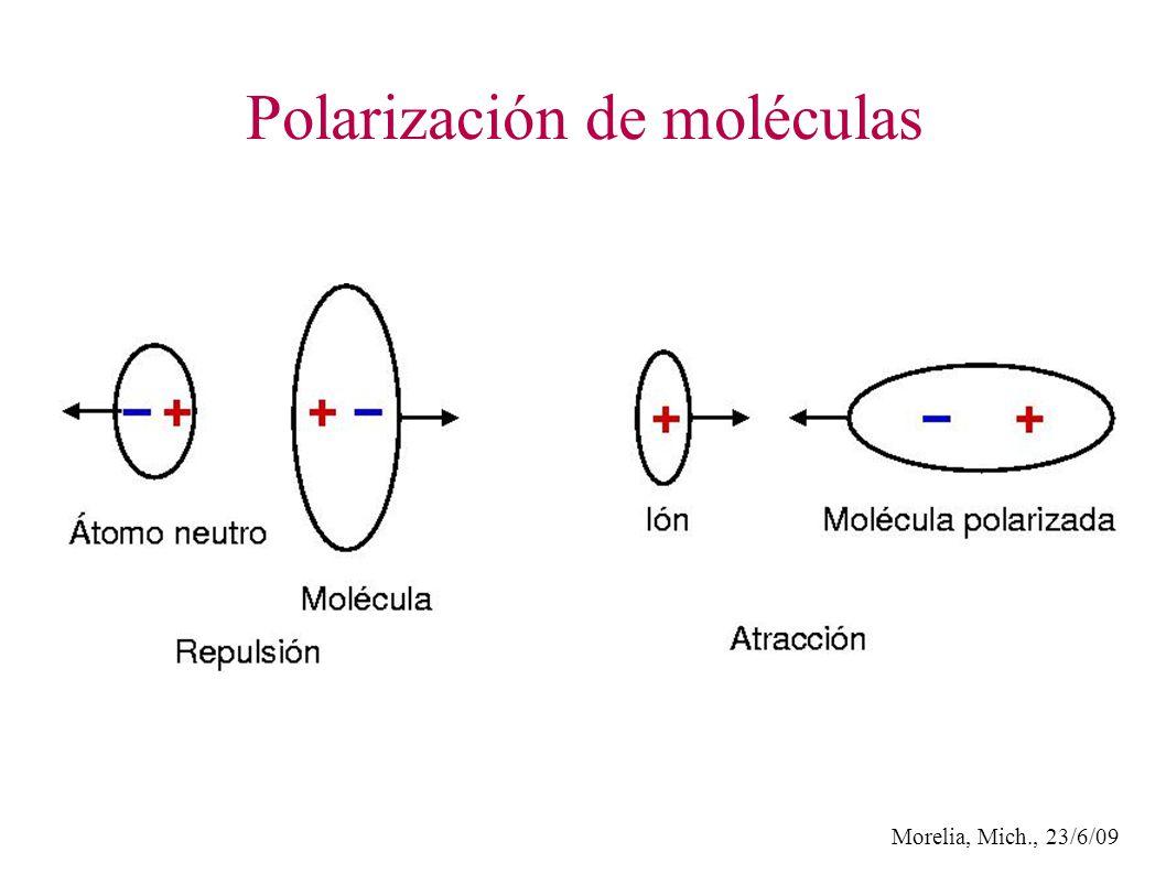 Morelia, Mich., 23/6/09 Polarización de moléculas