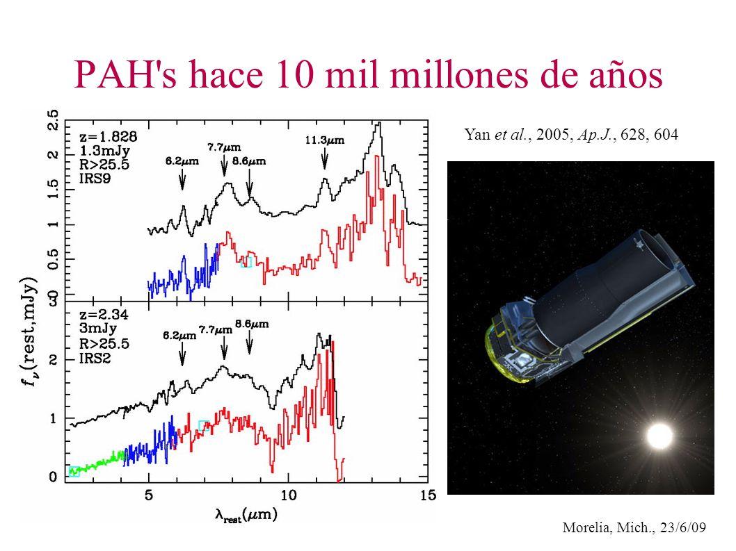 Morelia, Mich., 23/6/09 PAH s hace 10 mil millones de años Yan et al., 2005, Ap.J., 628, 604