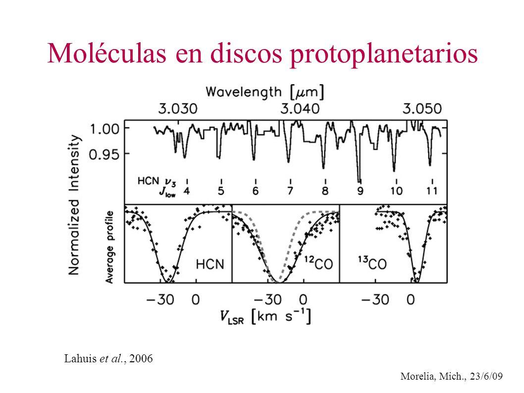 Morelia, Mich., 23/6/09 Moléculas en discos protoplanetarios Lahuis et al., 2006