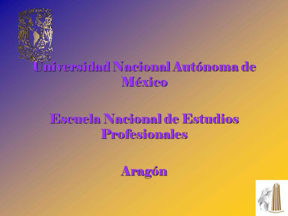 Universidad Nacional Autónoma de México Escuela Nacional de Estudios Profesionales Aragón