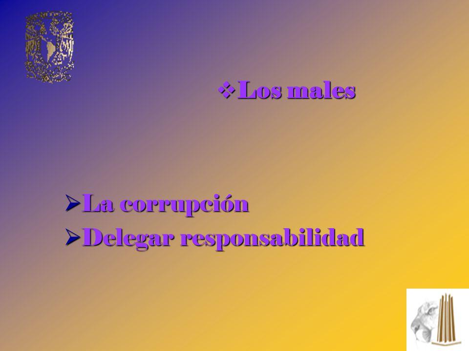 La corrupción La corrupción Delegar responsabilidad Delegar responsabilidad Los males Los males