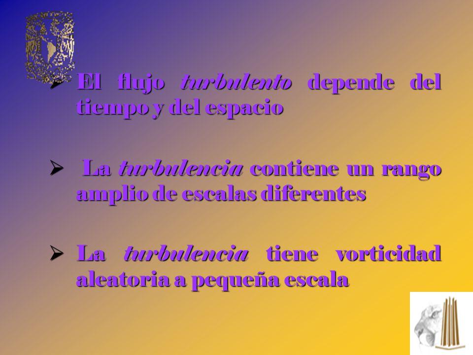 El flujo turbulento depende del tiempo y del espacio El flujo turbulento depende del tiempo y del espacio La turbulencia contiene un rango amplio de e
