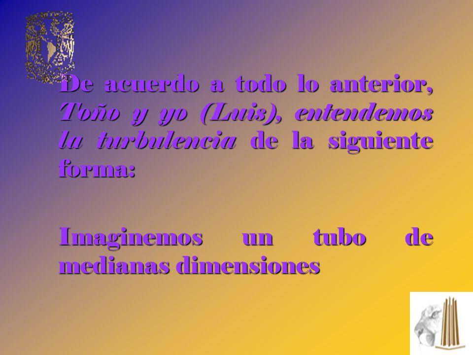 De acuerdo a todo lo anterior, Toño y yo (Luis), entendemos la turbulencia de la siguiente forma: Imaginemos un tubo de medianas dimensiones Imaginemo