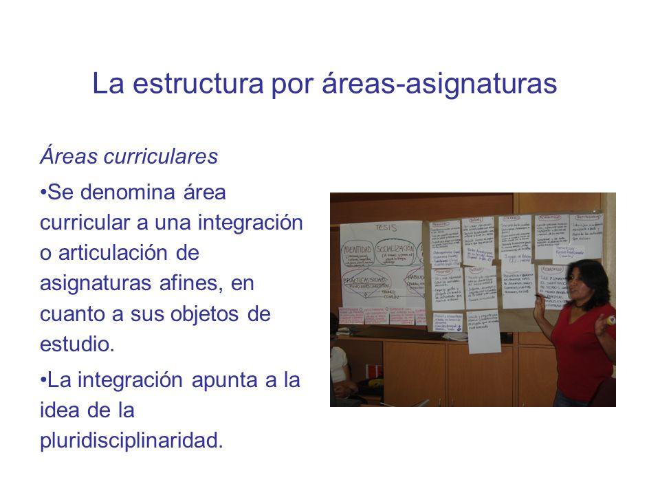 La estructura por áreas-asignaturas Asignaturas En general, se han mantenido las nominaciones de las asignaturas, pero su incorporación en áreas espec