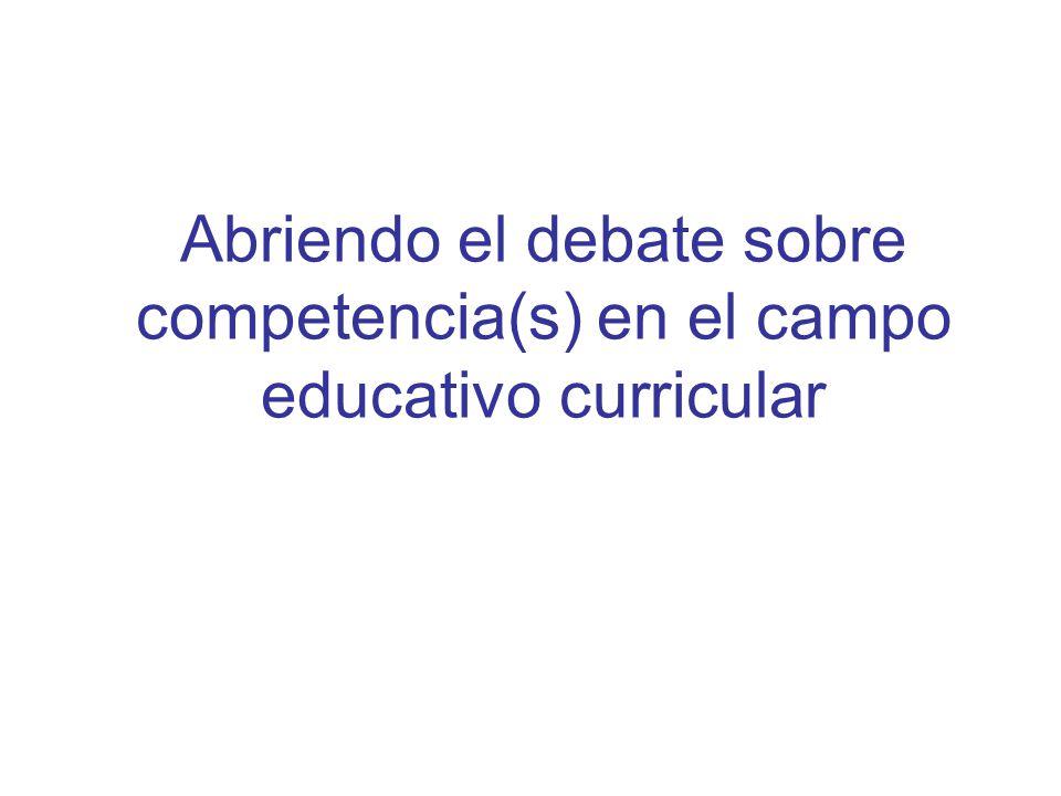 APRENDIZAJES SOCIALMENTE SIGNIFICATIVOS: EN DIALOGO Y TENSIÓN CON LOS DISCURSOS DE LAS COMPETENCIAS EN EDUCACIÓN Hipótesis de trabajo: a)La dimensión político – cultural en relación a los saberes y las competencias b)Competencias en educación superior, privilegio de la dimensión económica: Desde la Teoría del capital humano (actualizada) c) Giro político para pensar la relación educación – trabajo – aprendizaje (Generación de capital social, tejido social) d) El vínculo Maestro – Alumno puede desplazarse hacia una nueva estructura didáctica, hacia un nuevo vínculo curriculum - sociedad