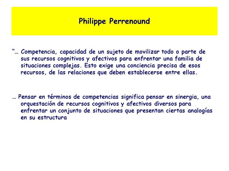Philippe Perrenound … Competencia, capacidad de un sujeto de movilizar todo o parte de sus recursos cognitivos y afectivos para enfrentar una familia de situaciones complejas.