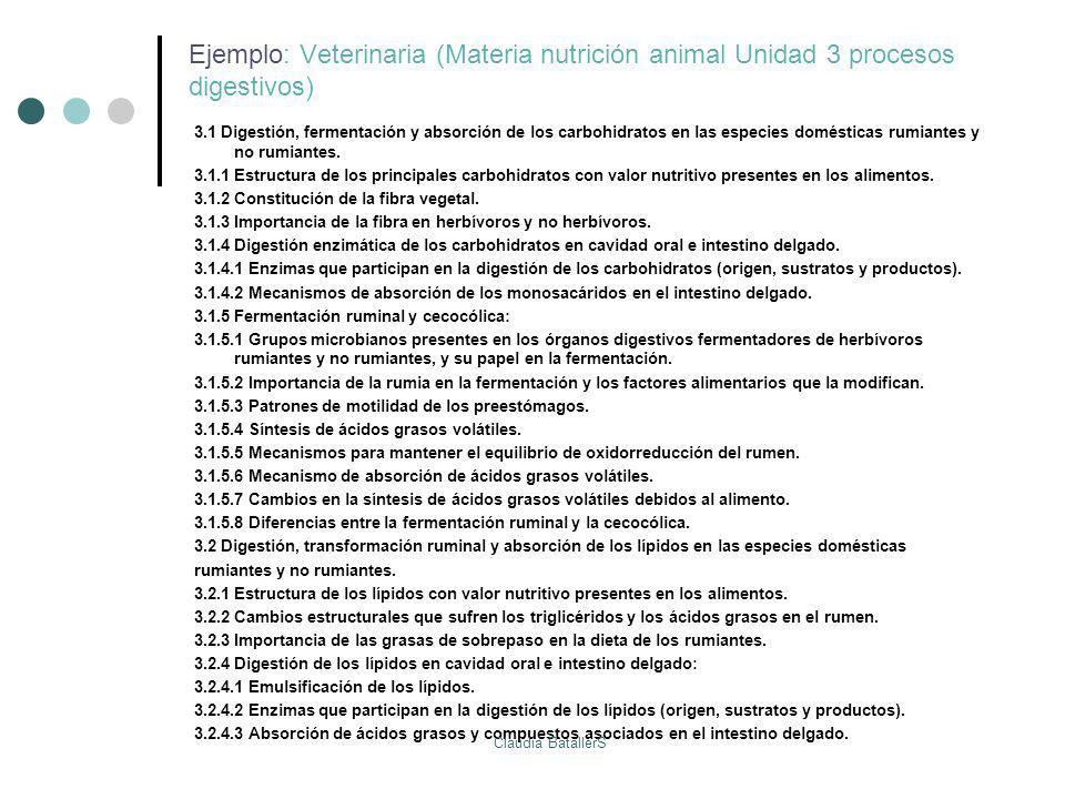 Ejemplo: Veterinaria (Materia nutrición animal Unidad 3 procesos digestivos) 3.1 Digestión, fermentación y absorción de los carbohidratos en las espec
