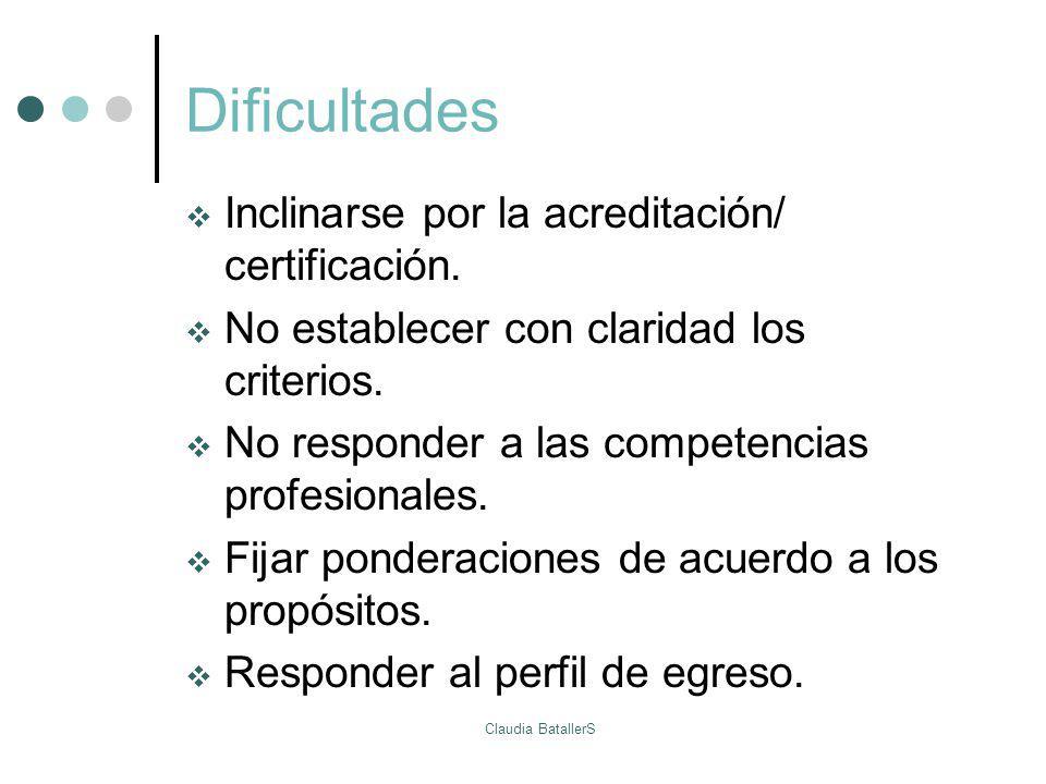 Dificultades Inclinarse por la acreditación/ certificación. No establecer con claridad los criterios. No responder a las competencias profesionales. F