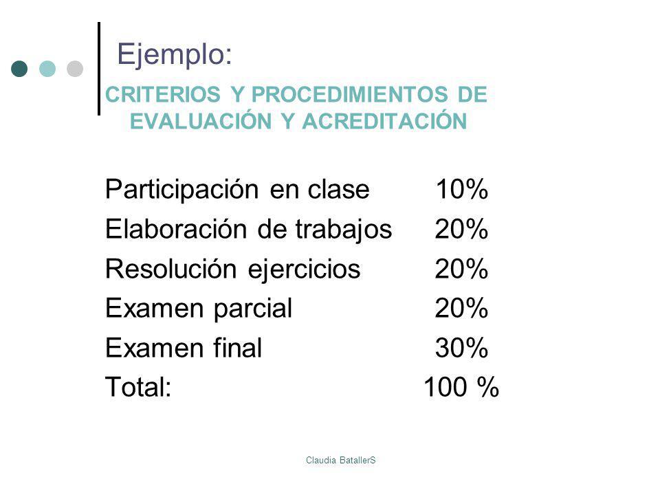Ejemplo: CRITERIOS Y PROCEDIMIENTOS DE EVALUACIÓN Y ACREDITACIÓN Participación en clase10% Elaboración de trabajos 20% Resolución ejercicios20% Examen