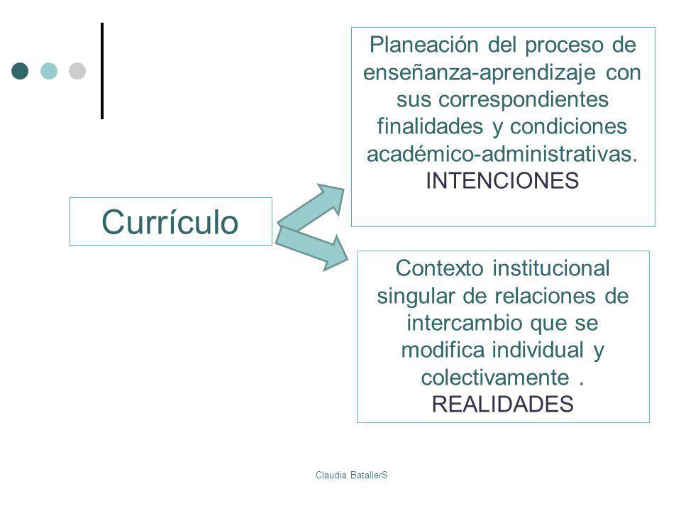 Currículo Planeación del proceso de enseñanza-aprendizaje con sus correspondientes finalidades y condiciones académico-administrativas. INTENCIONES Co