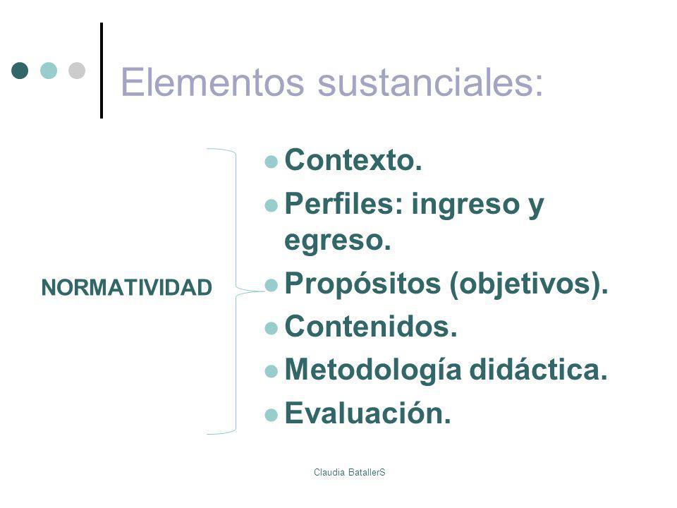 Elementos sustanciales: Contexto. Perfiles: ingreso y egreso. Propósitos (objetivos). Contenidos. Metodología didáctica. Evaluación. NORMATIVIDAD Clau