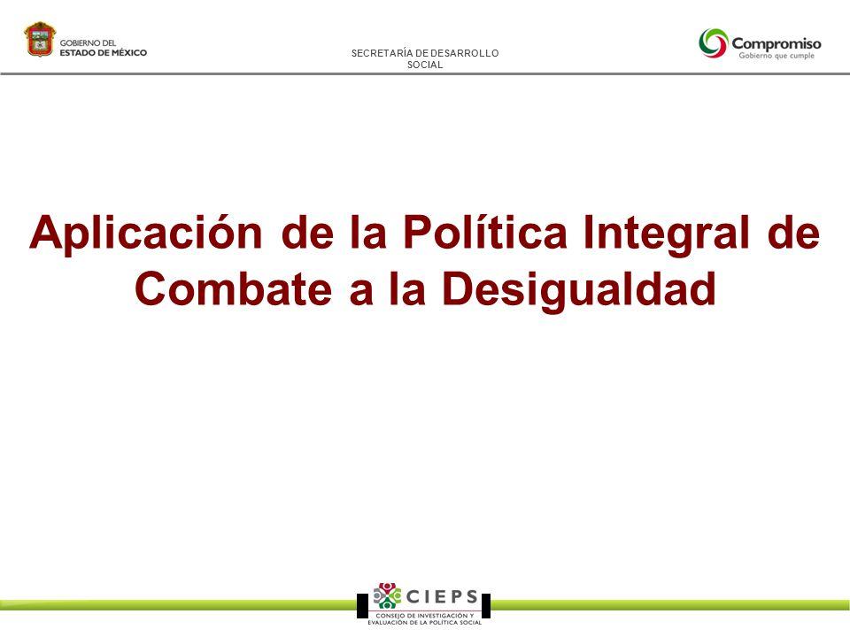 SECRETARÍA DE DESARROLLO SOCIAL Aplicación de la Política Integral de Combate a la Desigualdad