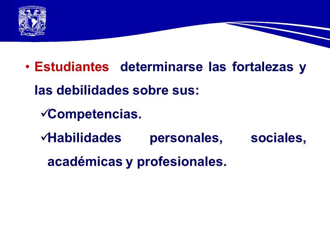 Estudiantes determinarse las fortalezas y las debilidades sobre sus: Competencias. Habilidades personales, sociales, académicas y profesionales.