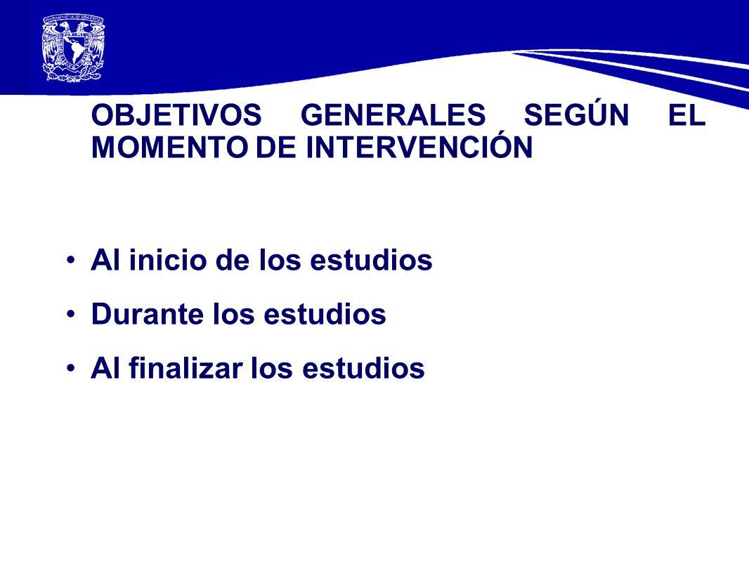 OBJETIVOS GENERALES SEGÚN EL MOMENTO DE INTERVENCIÓN Al inicio de los estudios Durante los estudios Al finalizar los estudios