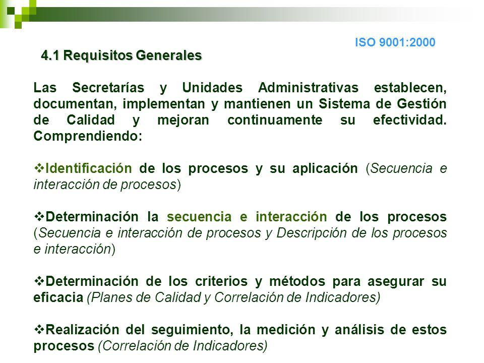 4.1 Requisitos Generales 4.1 Requisitos Generales Las Secretarías y Unidades Administrativas establecen, documentan, implementan y mantienen un Sistema de Gestión de Calidad y mejoran continuamente su efectividad.