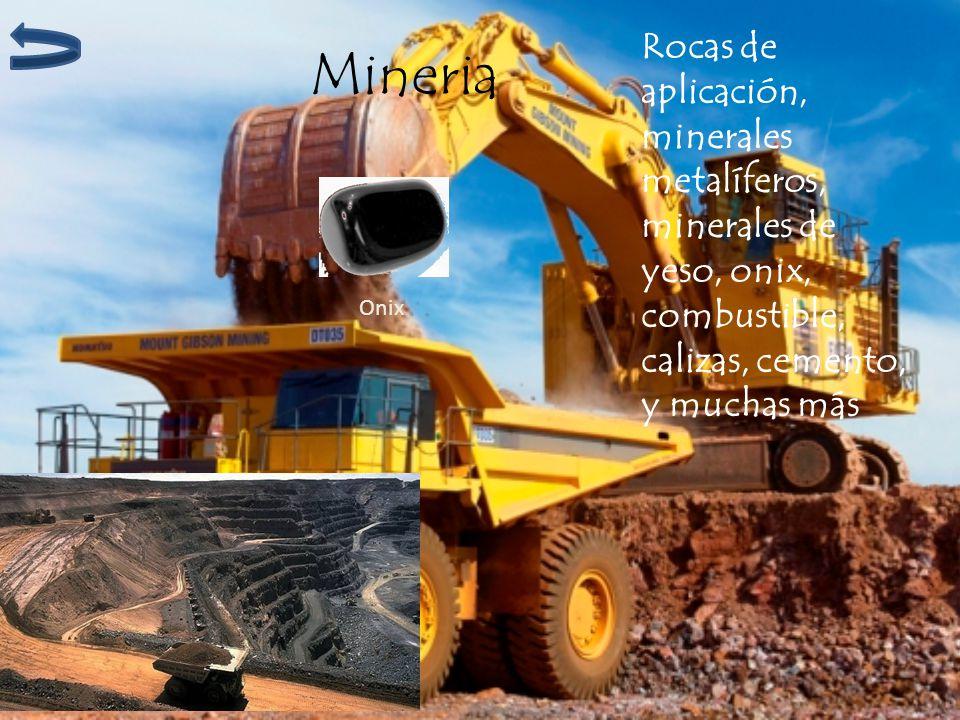 Mineria Rocas de aplicación, minerales metalíferos, minerales de yeso, onix, combustible, calizas, cemento, y muchas más Onix