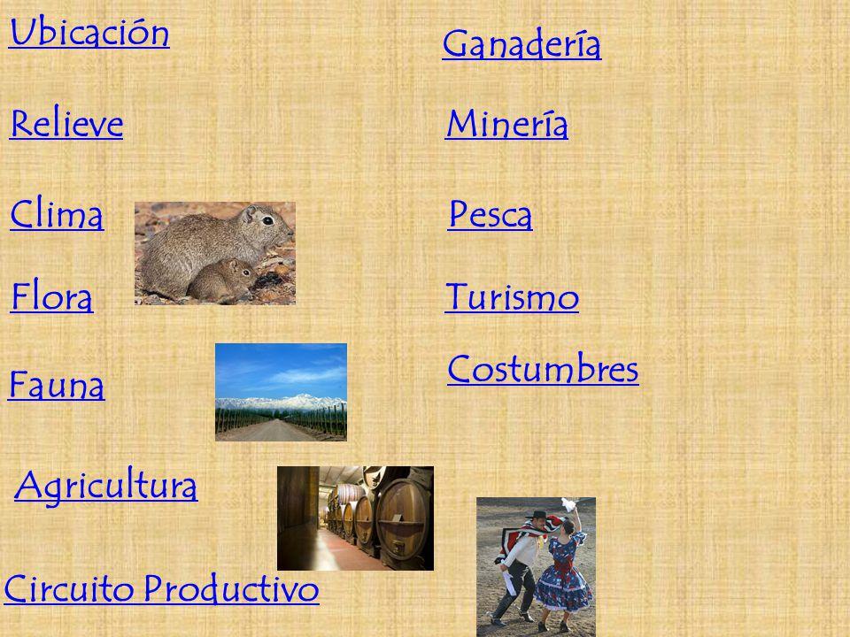Ubicación Relieve Clima Flora Fauna Agricultura Circuito Productivo Ganadería Minería Pesca Turismo Costumbres