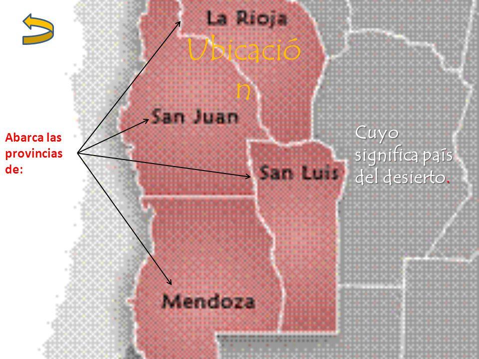 Ubicació n Abarca las provincias de: Cuyo significa país del desierto.
