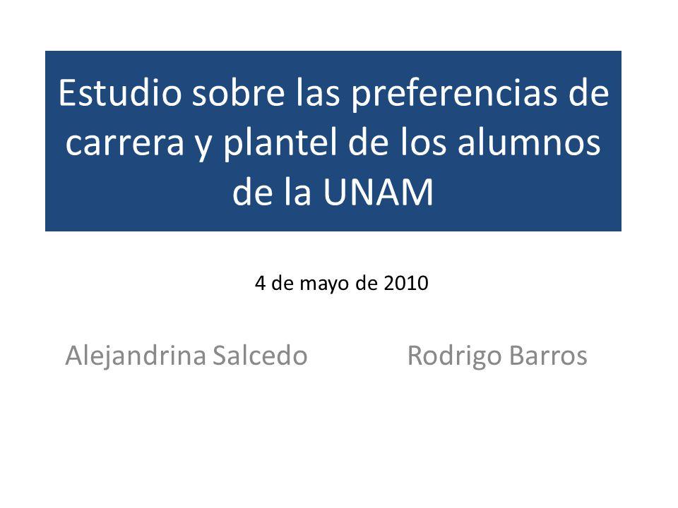 Estudio sobre las preferencias de carrera y plantel de los alumnos de la UNAM Alejandrina SalcedoRodrigo Barros 4 de mayo de 2010