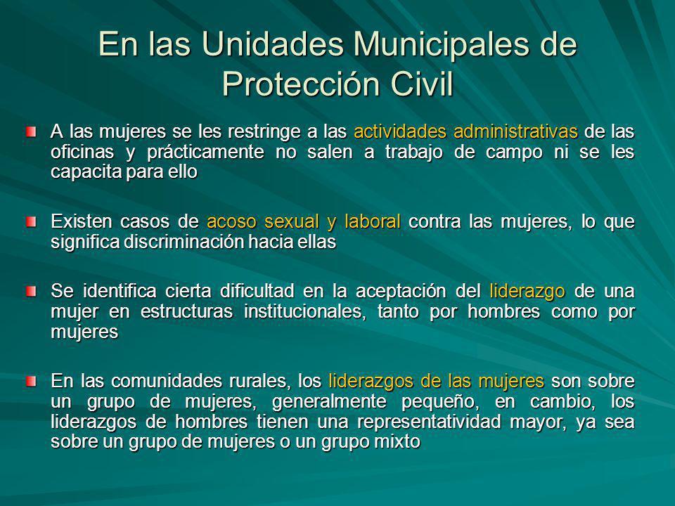 En las Unidades Municipales de Protección Civil A las mujeres se les restringe a las actividades administrativas de las oficinas y prácticamente no sa