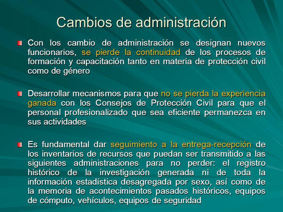 Cambios de administración Con los cambio de administración se designan nuevos funcionarios, se pierde la continuidad de los procesos de formación y ca