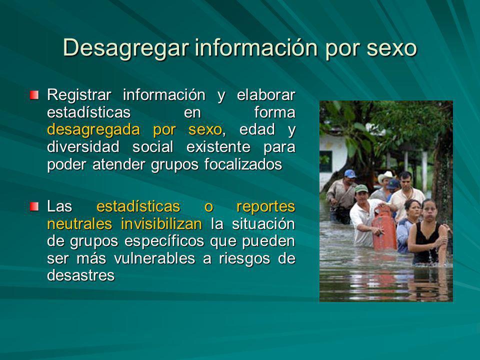 Desagregar información por sexo Registrar información y elaborar estadísticas en forma desagregada por sexo, edad y diversidad social existente para p