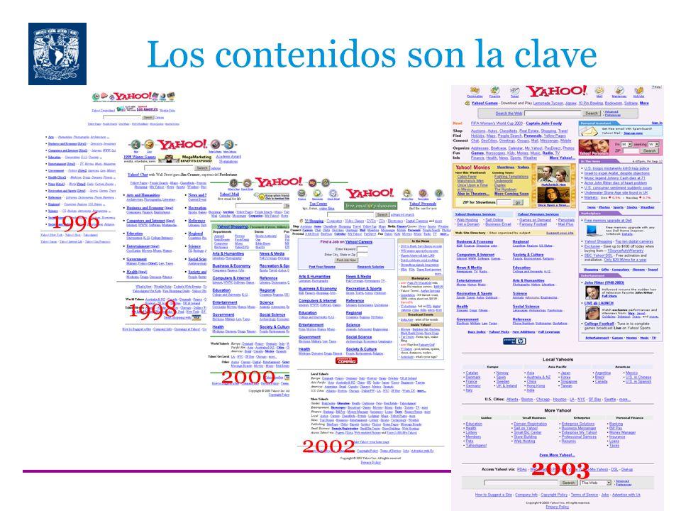 Los contenidos son la clave 1996 1998 2000 2002 2003