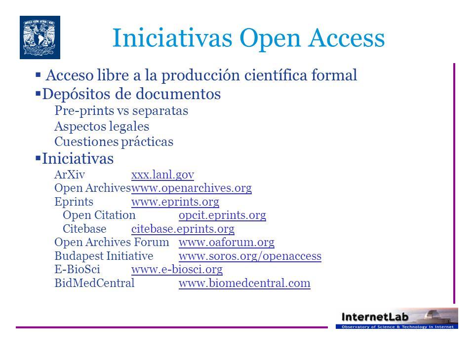Iniciativas Open Access Acceso libre a la producción científica formal Depósitos de documentos Pre-prints vs separatas Aspectos legales Cuestiones prácticas Iniciativas ArXivxxx.lanl.gov Open Archiveswww.openarchives.org Eprintswww.eprints.org Open Citationopcit.eprints.org Citebasecitebase.eprints.org Open Archives Forumwww.oaforum.org Budapest Initiativewww.soros.org/openaccess E-BioSciwww.e-biosci.org BidMedCentralwww.biomedcentral.com