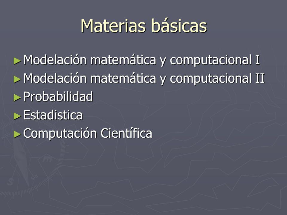Materias básicas Modelación matemática y computacional I Modelación matemática y computacional I Modelación matemática y computacional II Modelación matemática y computacional II Probabilidad Probabilidad Estadistica Estadistica Computación Científica Computación Científica