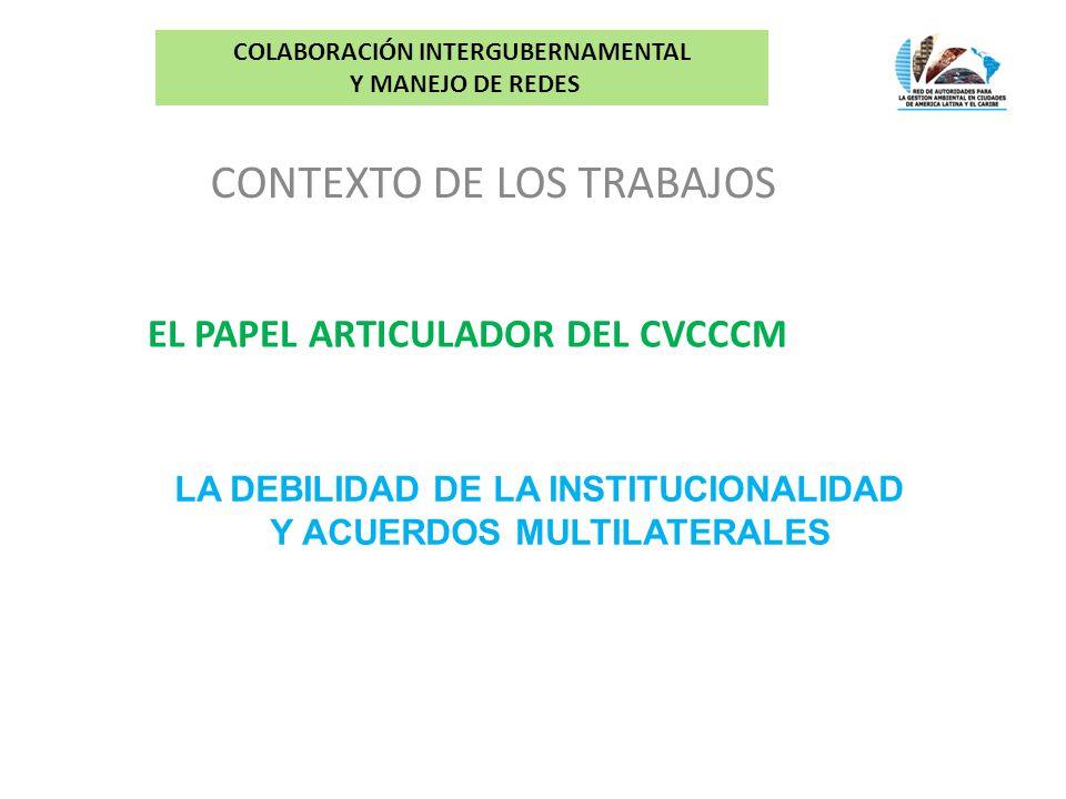CONTEXTO DE LOS TRABAJOS COLABORACIÓN INTERGUBERNAMENTAL Y MANEJO DE REDES EL PAPEL ARTICULADOR DEL CVCCCM LA DEBILIDAD DE LA INSTITUCIONALIDAD Y ACUERDOS MULTILATERALES