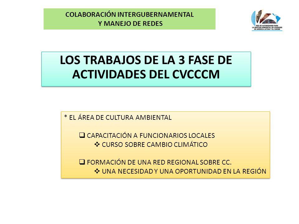 LOS TRABAJOS DE LA 3 FASE DE ACTIVIDADES DEL CVCCCM COLABORACIÓN INTERGUBERNAMENTAL Y MANEJO DE REDES * EL ÁREA DE CULTURA AMBIENTAL CAPACITACIÓN A FUNCIONARIOS LOCALES CURSO SOBRE CAMBIO CLIMÁTICO FORMACIÓN DE UNA RED REGIONAL SOBRE CC.