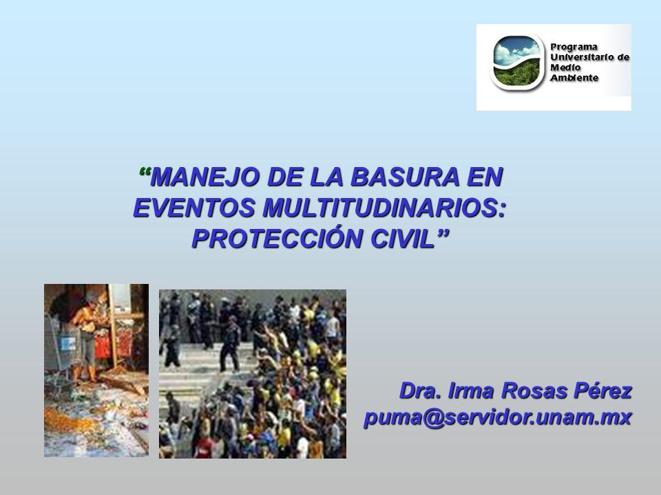 MANEJO DE LA BASURA ENMANEJO DE LA BASURA EN EVENTOS MULTITUDINARIOS: PROTECCIÓN CIVIL Dra. Irma Rosas Pérez puma@servidor.unam.mx puma@servidor.unam.
