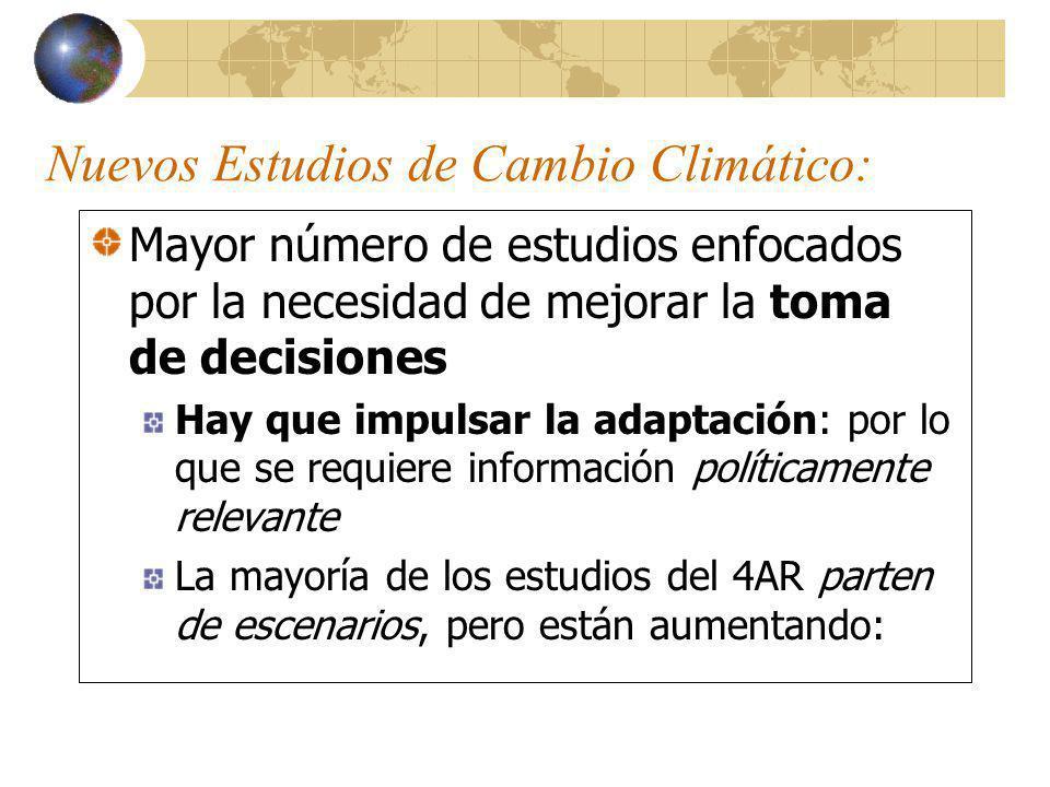 Por ejemplo: Reducción de riesgo Métodos para el manejo de la incertidumbre (en lugar de resolverla) Involucrar a partes interesadas Métodos para evaluar opciones políticas Multidisciplina Integración (mainstreaming) al tema de cambio climático en un contexto más amplio de toma de decisiones