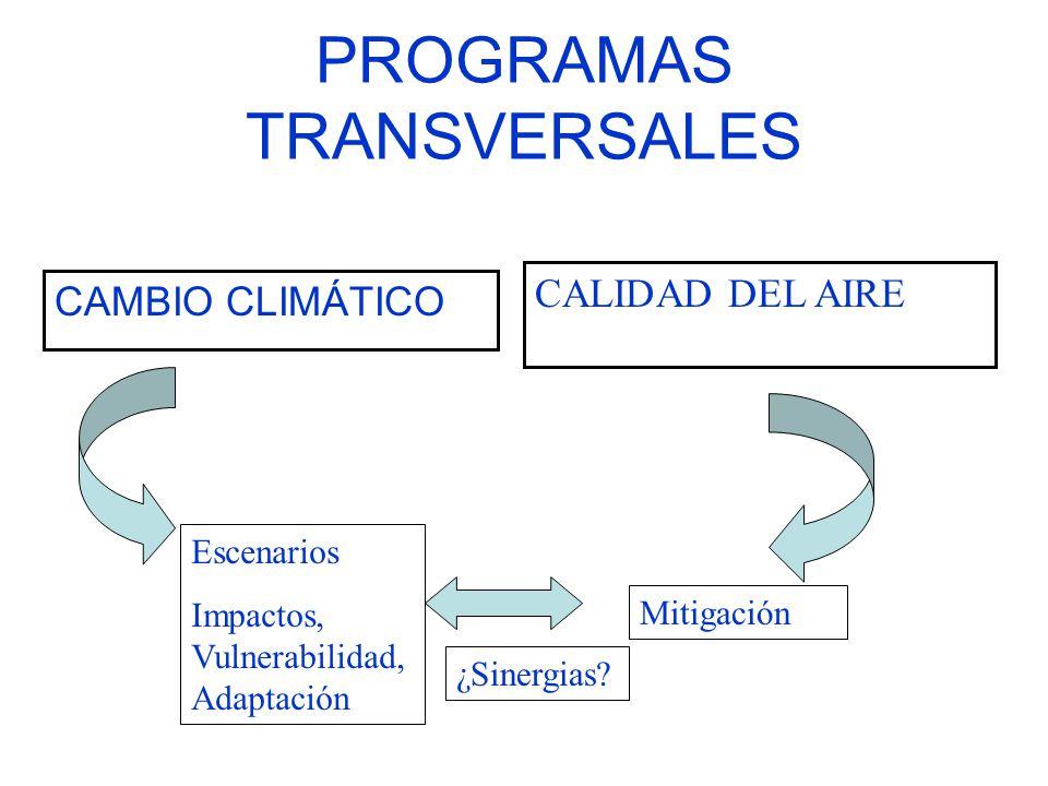 PROGRAMAS TRANSVERSALES CAMBIO CLIMÁTICO CALIDAD DEL AIRE Escenarios Impactos, Vulnerabilidad, Adaptación Mitigación ¿Sinergias?