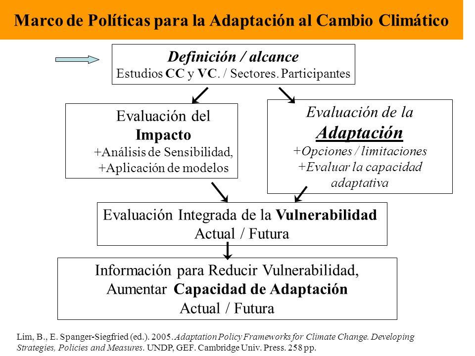 Definición / alcance Estudios CC y VC. / Sectores. Participantes Evaluación del Impacto +Análisis de Sensibilidad, +Aplicación de modelos Evaluación d