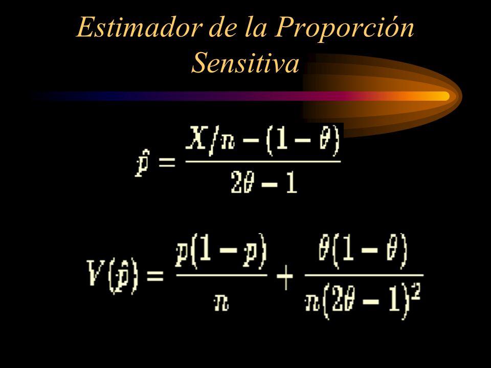 Sea P la proporción de la población para la cual la respuesta verdadera de Q a es SI, entonces 1 – P es la proporción de personas que contestan SI a Q a c, entonces la probabilidad de respuestas SI debería estar dada por: Pr(SI) = P + (1 - )(1 –P) Despejando P: P= P(si)-(1-