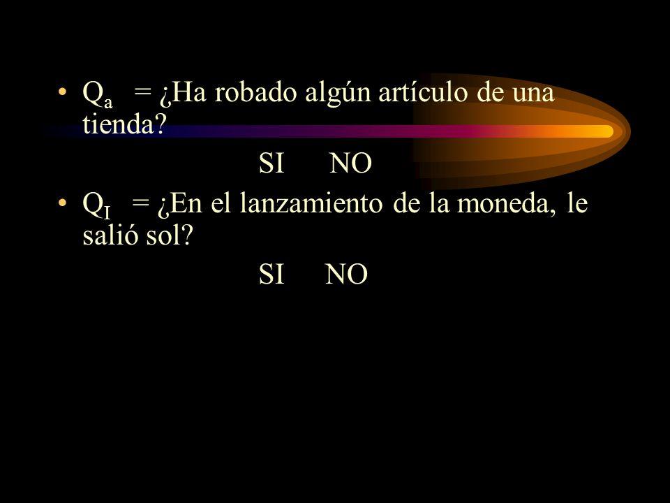 Método 2 (Horvitz,Shah y Simmons, 1967) Pregunta inocua: es aquélla pregunta que no es sensitiva y que no está relacionada con ella. Reemplazar Q a c