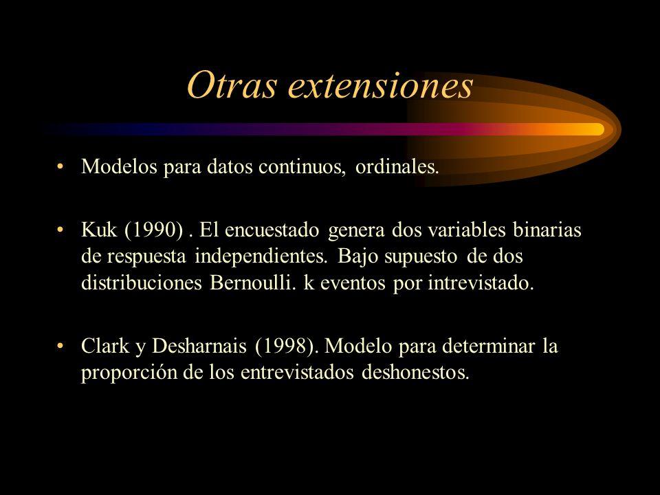 Se tomaron dos muestras alumnos Fac. Ciencias 2do. Semestre 1976, cursaban estadística I, estadística II y Procesos Estocásticos. n = 80 m= 36