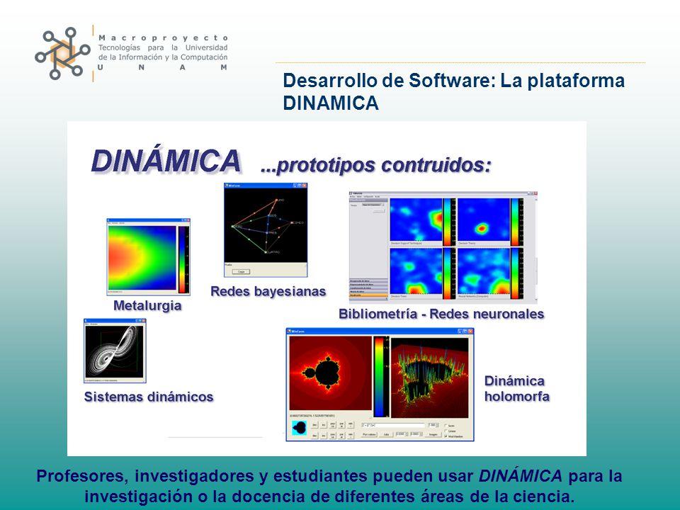 Desarrollo de Software: La plataforma DINAMICA Profesores, investigadores y estudiantes pueden usar DINÁMICA para la investigación o la docencia de di