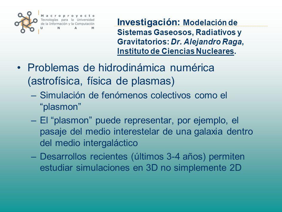 Investigación: Modelación de Sistemas Gaseosos, Radiativos y Gravitatorios: Dr. Alejandro Raga, Instituto de Ciencias Nucleares. Problemas de hidrodin