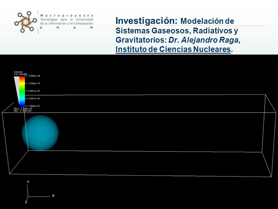 Investigación: Modelación de Sistemas Gaseosos, Radiativos y Gravitatorios: Dr. Alejandro Raga, Instituto de Ciencias Nucleares.